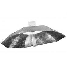 Reflector parabolic plateado